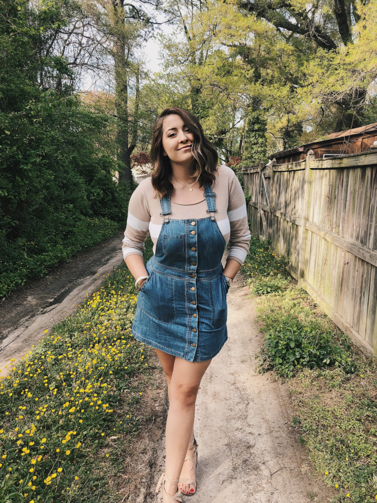 outfit of the day denim overall dress