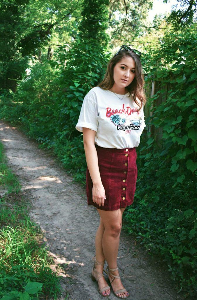 summer fall graphic tee corduroy skirt