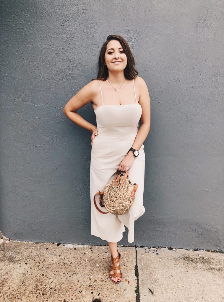Cream jumpsuit fall fashion ootd