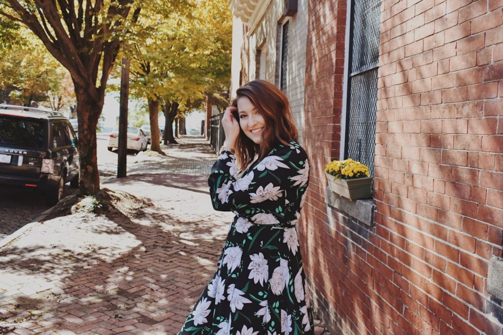 ootd fall floral wrap dress bohme