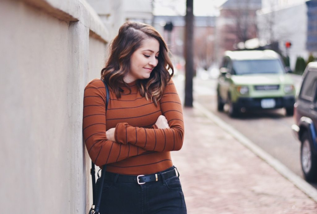 outfit of the day rust-colored mock-neck top ootd