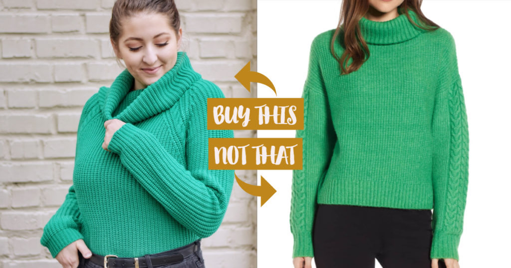 kelly green turtleneck sweater buy this not that fashion dupe