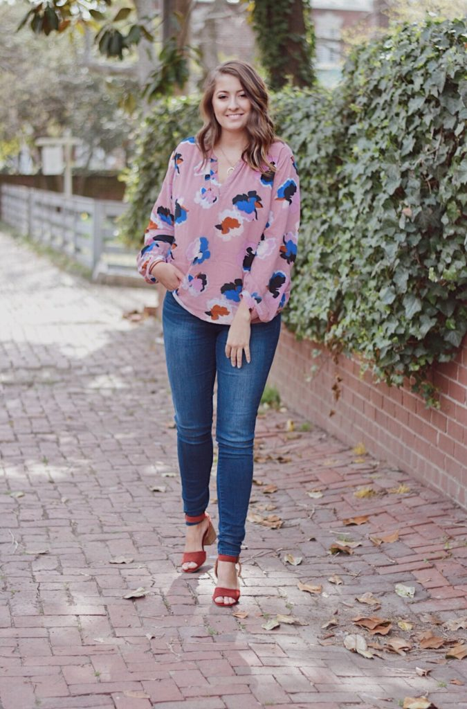 ootd pink floral blouse outfit of the day