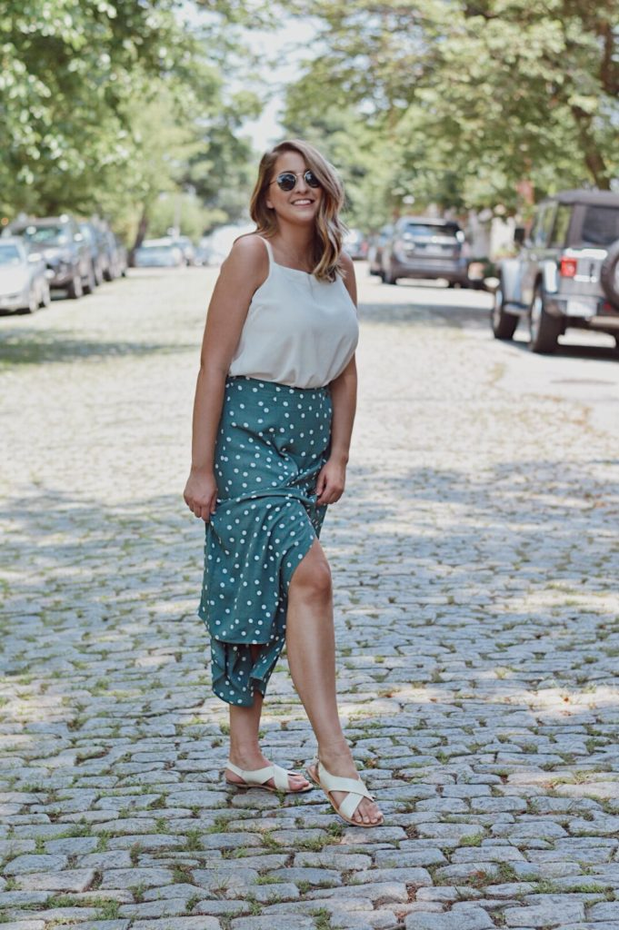 outfit of the day teal polka dot maxi skirt ootd
